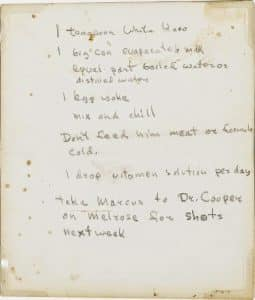 james dean's note on how to feed his cat